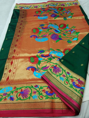 Dark Green with Pink Border Peacock Designed Pallu Paithani Saree-PAITHANI-073