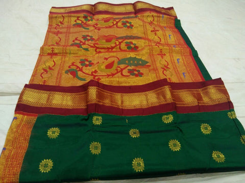 Dark Green with Red Border Peacock Pallu Paithani Saree-PAITHANI-087