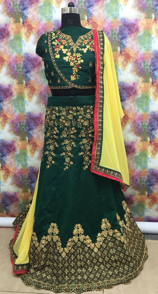 Dark Green with Yellow Floral Embroidered Banglori Silk Lehenga