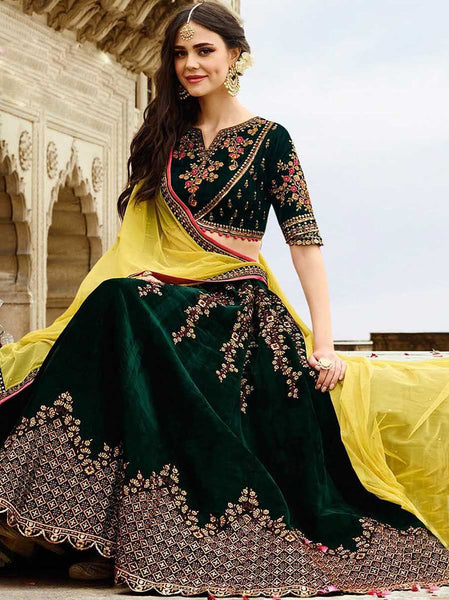 Dark Green with Yellow Floral Embroidery Banglori Silk Lehenga-LKELG-007