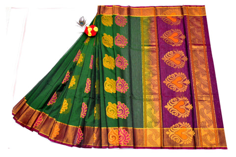 Dark Green with Yellow and Pink Floral Designed Purple Pallu Handwoven Chettinad Silk Cotton Saree