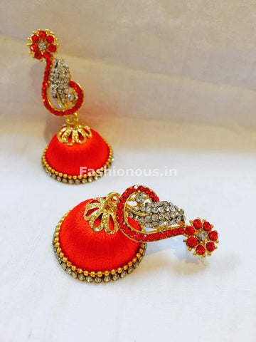 Dark Orange and White Stone Studded Peacock Neck Floral Silk Thread Jhumkas-STJH-040