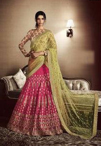 Dark Pink Embroidered Bridal Lehenga