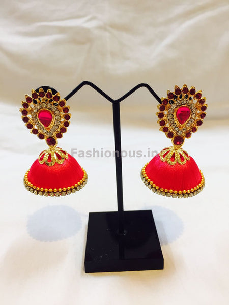 Dark Pink Stone Studded Droplet Silk Thread Jhumkas-STJH-017