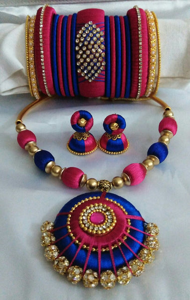 Dark Pink and Dark Blue Silk Thread Jewellery Set