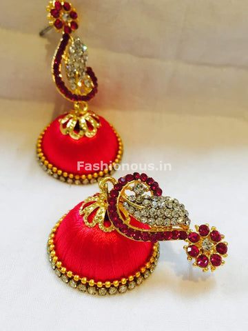 Dark Pink and White Stone Studded Peacock Neck Floral Silk Thread Jhumkas-STJH-042