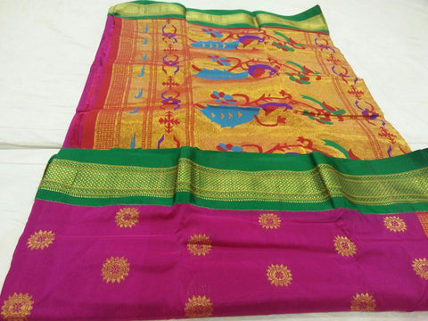 Dark Pink with Green Border Peacock Pallu Paithani Saree-PAITHANI-088