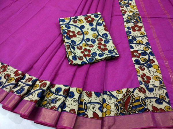 Dark Pink with Kalamkari Blouse Kotta Mercerized Cotton Saree-SRE-810
