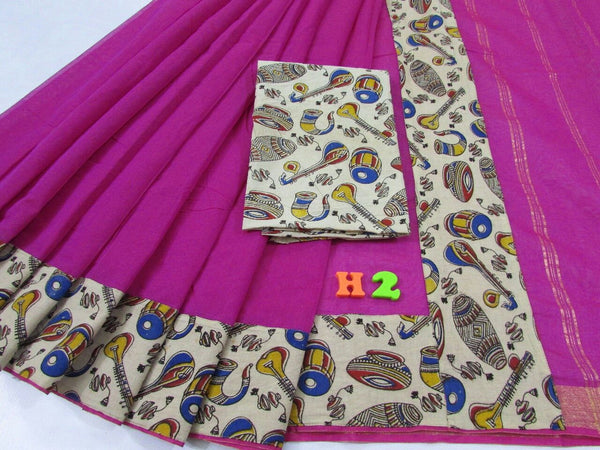 Dark Pink with Kalamkari Blouse Mercerized Silk Cotton Saree-SRE-764
