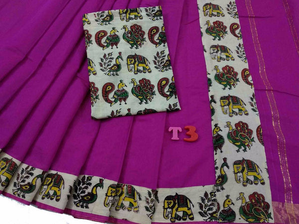 Dark Pink with Kalamkari Blouse Mercerized Silk Cotton Saree-SRE-770