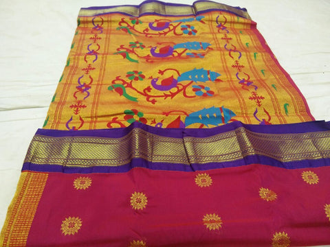 Dark Pink with Purple Border Peacock Pallu Paithani Saree-PAITHANI-091