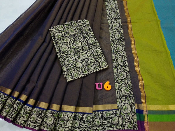 Dark Purple with Kalamkari Blouse Kotta Mercerized Cotton Saree-SRE-817