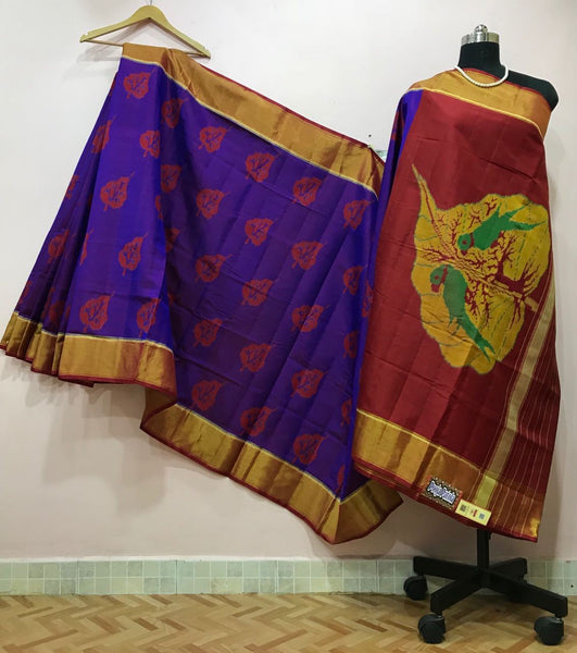 Dark Purple with Parrot Designed Maroon Pallu Patola Silk Saree-PPSRE-043