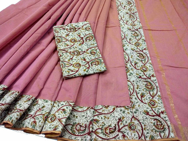 Dark Salmon with Kalamkari Blouse Mercerized Silk Cotton Saree-SRE-772