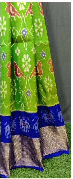 Dark blue and Light Green Ikkat Pure Silk Lehenga