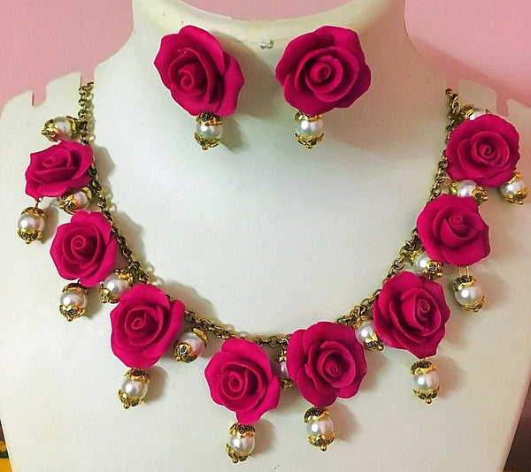 Magenta Pink With Mustard Sunflower Polymer Clay Necklace And Studs
