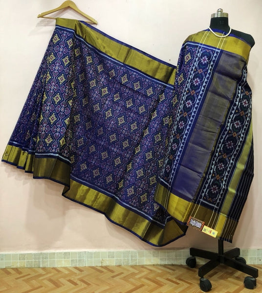 Blue Alpana Designed with Golden Border Patola Silk Saree-PPSRE-001
