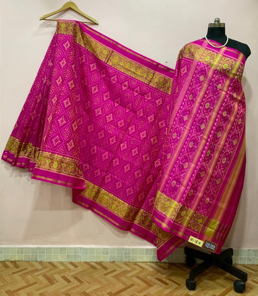 Magenta Alpana Designed with Golden Border Patola Silk Saree-PPSRE-013