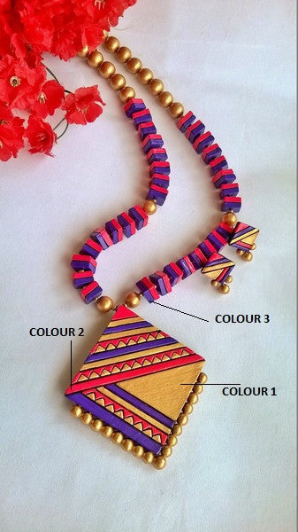Diamond shaped  Terracotta Jewellery Set