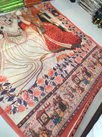 Digital Printed Linen Cotton Kalamkari Saree-Design KALMS015