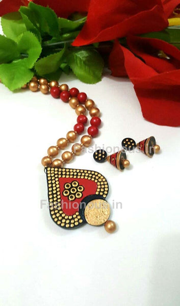 Dotted Maroon Heart Shaped Terracotta Pendant Set-TJS-028
