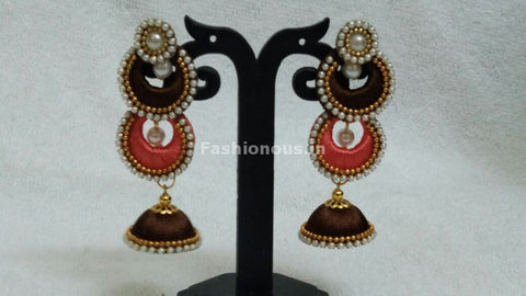 Double Brown and Orange Chandbalis Silk Thread Jhumkas -STJH-059