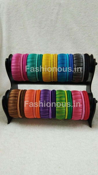 Double Color Shaded Silk Thread Bangle Set-STJSW-066