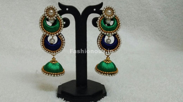 Double Ink Blue and Light Green Chandbalis Silk Thread Jhumkas -STJH-061