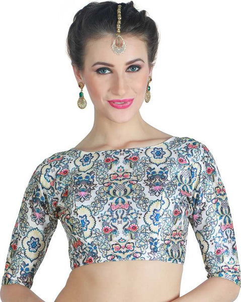 Elegant Blue Floral Printed Readymade Blouse