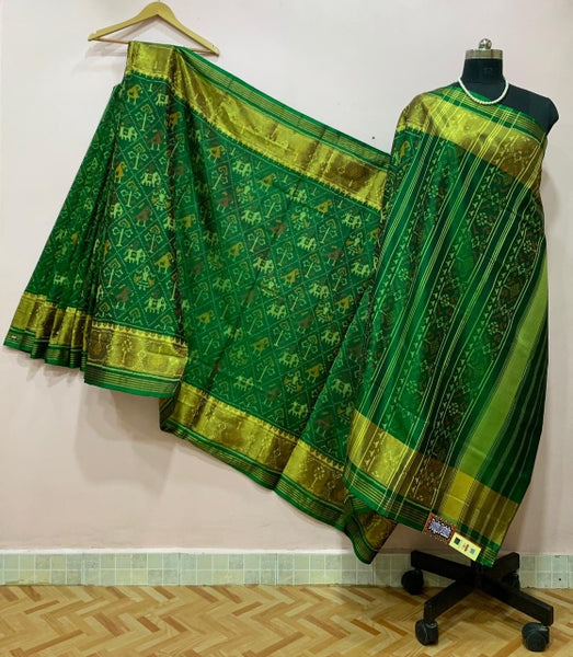 Dark Green with Bird and Elephant Motif Patola Silk Saree-PPSRE-046