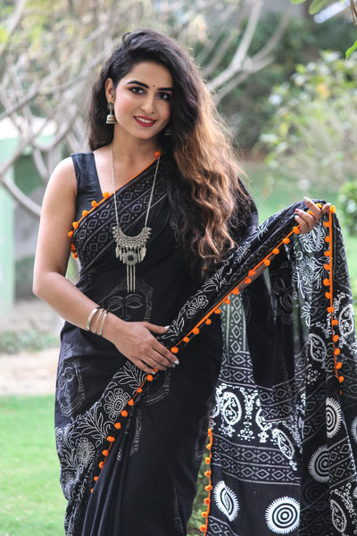 Quirky Black Cotton Saree