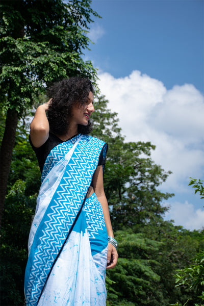 White Cotton Saree with Sky Blue Border-TCS004
