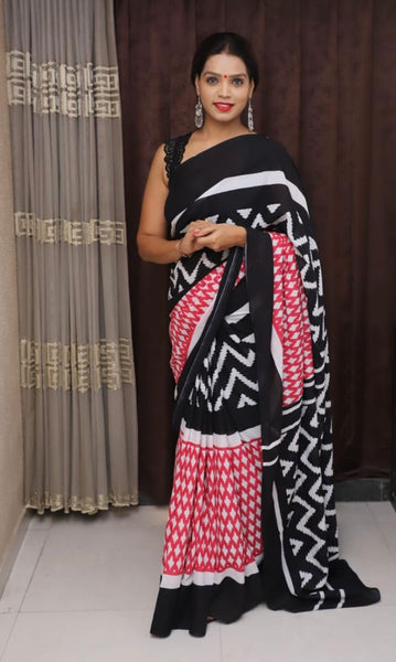 Multicoloured ZigZag Printed Cotton Saree -TCS016