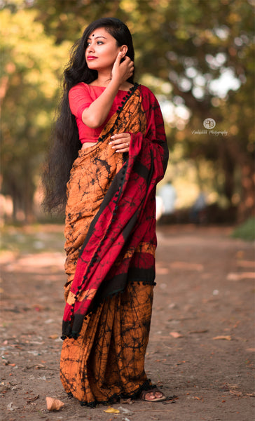 Lovely Yellow and Red Cotton Saree-TCS014