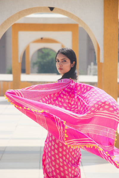 Pink Cotton Saree with Yellow Pom-Pom Border-TCS035