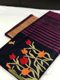 Floral Designed with Striped Tassel Pallu Silk Cotton Saree