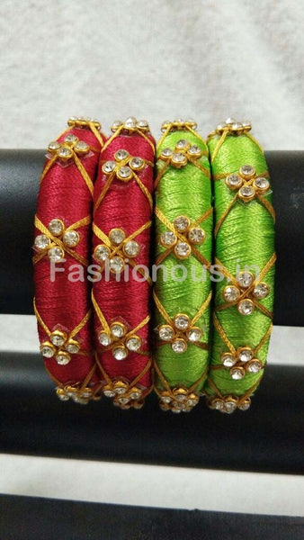 Floral Stone Worked Silk Thread Bangle Pair-STJSW-046