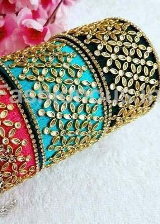 Floral Stone Worked Silk Thread Single Bangle-STJSW-027