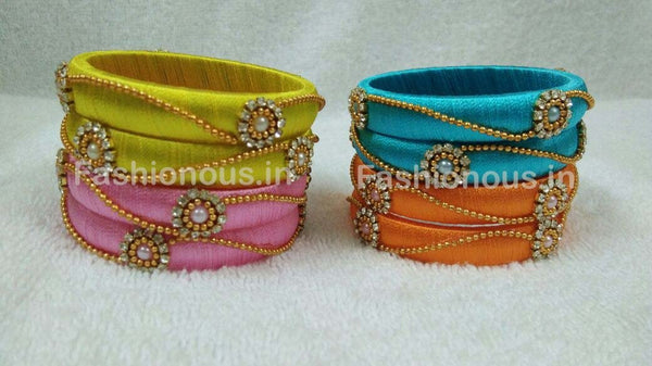 Floral Stone Worked with Chained Beads Silk Thread Bangle Pair-STJSW-052