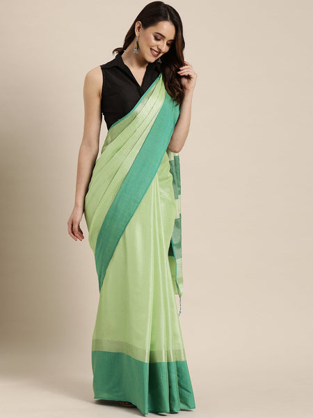 Flourescent Green Attractive Big Border Angolla Linen Saree (Blend)
