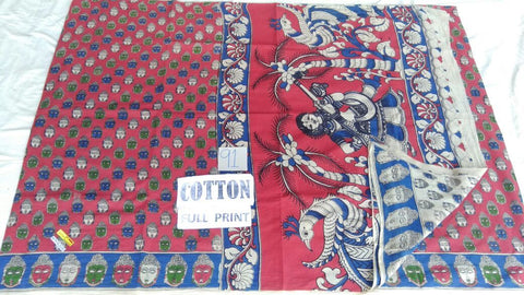 Full Printed Cotton Kalamkari Saree Design-FPKS-015
