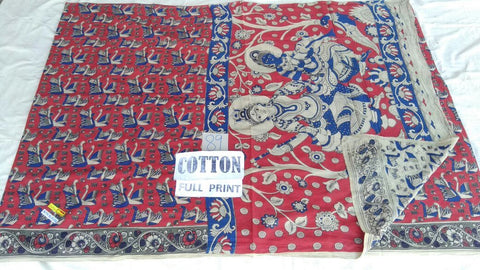 Full Printed Cotton Kalamkari Saree Design-FPKS-017