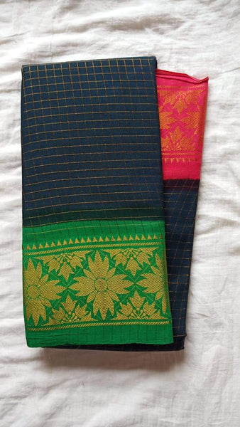 Madurai Checkered Sungudi Saree Ganga Jamuna Border GJB 023