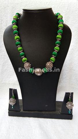 German Silver Ball with Green Silk Thread Jewellery Set-STJS-018