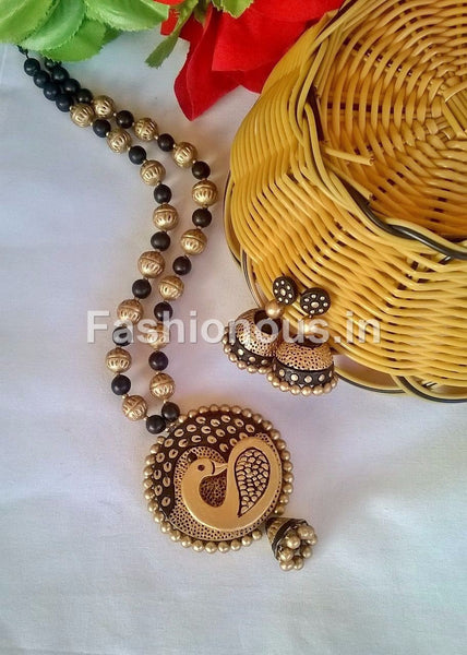 Gold and Black peacock Terracotta Jewellery Set