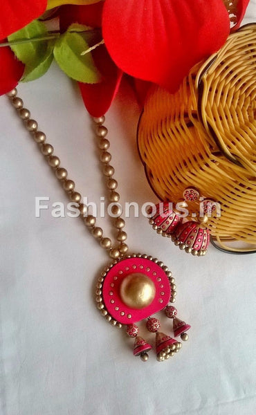 Gold and Pink Circle with Hangings Terracotta Jewellery Set