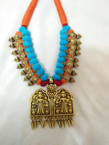 Golden Antique Pendant Oxidised Jewellery Set-OXDJ-050