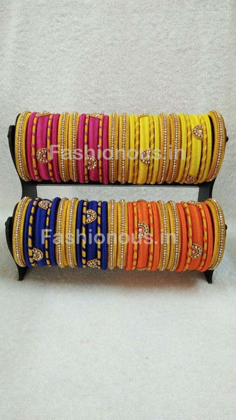 Golden Color Combined Stone Worked Silk Thread Bangle Set-STJSW-043