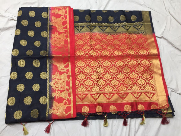 Golden Floral Paithani Silk Saree Design PS217
