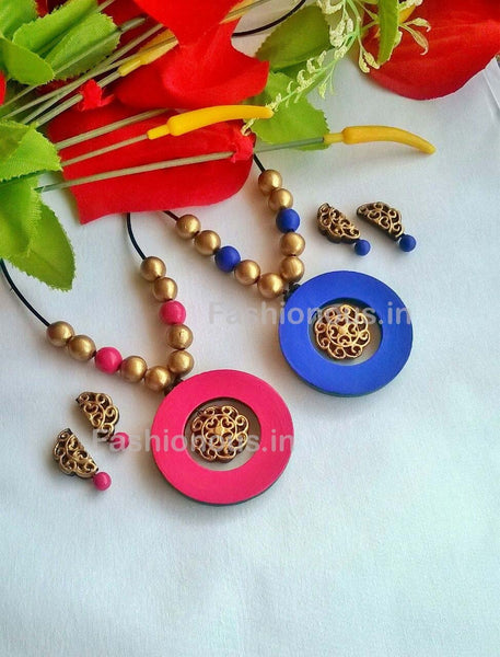 Golden Floral with Colorfull Round Terracotta Pendant Set-TJS-042